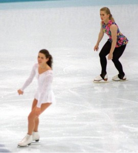 17 FEB 1994:  NANCY KERRIGAN AND TONYA HARDING OF THE USA ON THE ICE TOGETHER DURING TRAINING AT LILLEHAMMER, NORWAY. Mandatory Credit: Pascal Rondeau/ALLSPORT