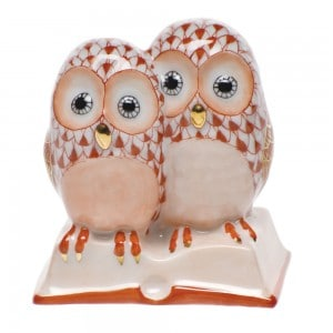 Herend Pair of Owls on Book