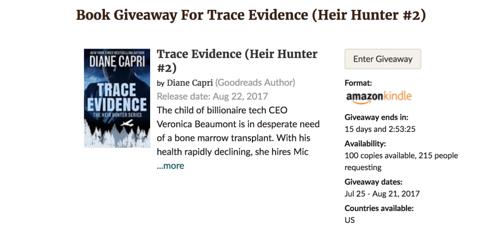 Goodreads Giveaway Trace Evidence